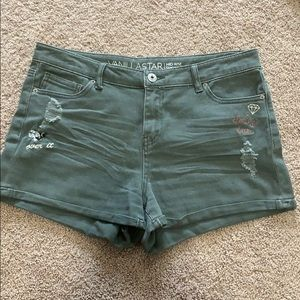 Army green mid rise denim shorts